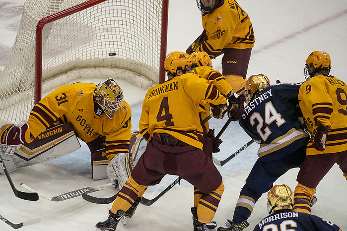 02 Nov 19: Spencer Stastney (Notre Dame - 24) goal. The University of Minnesota Golden Gopher host the University of Notre Dame Fighting Irish in a B1G matchup at 3M Arena at Mariucci in Minneapolis, MN. (Jim Rosvold)