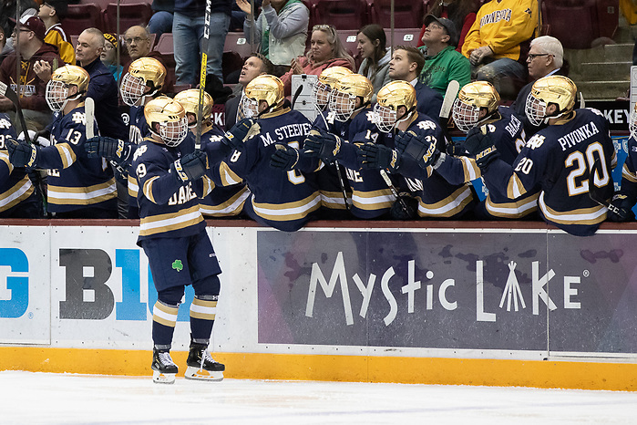 02 Nov 19: The University of Minnesota Golden Gopher host the University of Notre Dame Fighting Irish in a B1G matchup at 3M Arena at Mariucci in Minneapolis, MN. (Jim Rosvold)