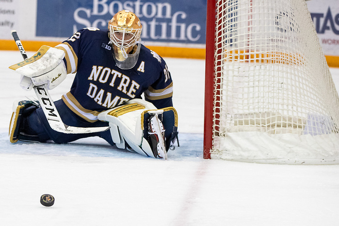 02 Nov 19: Cale Morris (Notre Dame - 32). The University of Minnesota Golden Gopher host the University of Notre Dame Fighting Irish in a B1G matchup at 3M Arena at Mariucci in Minneapolis, MN. (Jim Rosvold)