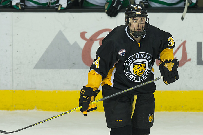 Chris Wilkie (Colorado College-34) 2019 January 12 University of North Dakota hosts Colorado College in a NCHC matchup at the Ralph Engelstad Arena in Grand Forks, ND (Bradley K. Olson)