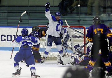 Colby celebrates a goal against Williams (Colby Athletics)