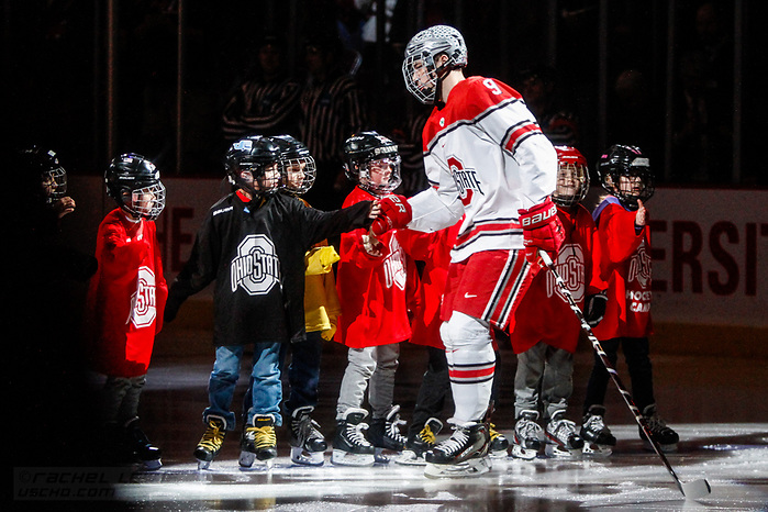 JAN 26, 2018: Tanner Laczynski (OSU - 9)  The #6 Ohio State Buckeyes shut out the #20 Michigan Wolverines 4-0 at Value City Arena in Columbus, OH. (Rachel Lewis - USCHO) (Rachel Lewis/©Rachel Lewis)