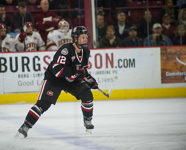 Jack Ahcan of St. Cloud State. St. Cloud State at Denver, Magness Arena, 11/11/17. (Candace Horgan)