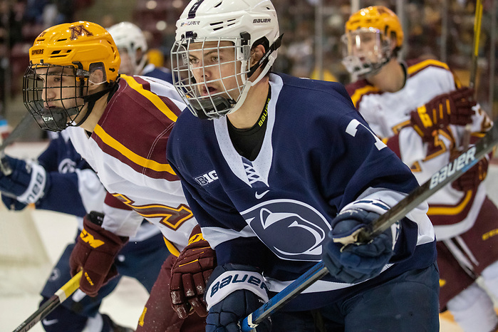 Evan Bell (Penn State - 7) 15 Nov 19: The University of Minnesota Golden Gopher host the Penn State Nittany Lions in a B1G matchup at 3M Arena at Mariucci in Minneapolis, MN. (Jim Rosvold)