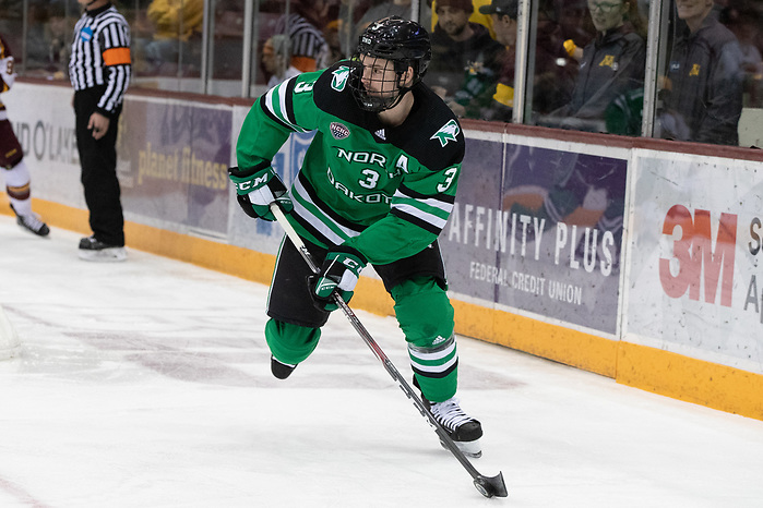 28 Nov 19: Matt Kiersted (North Dakota - 3) The University of Minnesota Golden Gopher host the University of North Dakota Fighting Hawks in a non-conference matchup at 3M Arena at Mariucci in Minneapolis, MN. (Jim Rosvold)