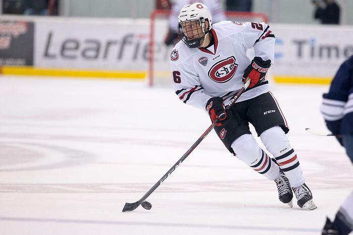 Easton Brodzinski (SCSU-26) 2018 October 7 St. Cloud State University hosts Mount Royal University in a exhibition contest at the Herb Brooks National Hockey Center (Bradley K. Olson)