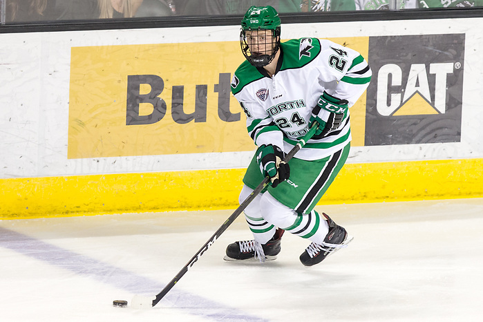 Jacob Bernard- Docker (UND-24) 2018 November 3 The University of North Dakota hosts the Wisconsin Badgers in a non conference matchup at the Ralph Engelstad Arena in Grand Forks, ND (Bradley K. Olson)