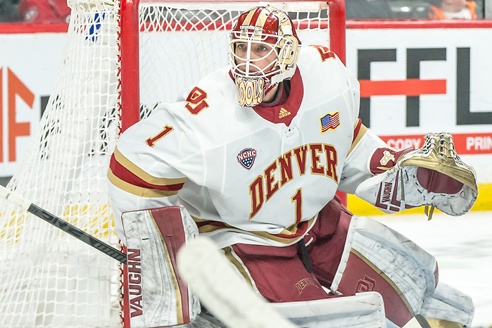 Devin Cooley (Denver-1) 2019 March 23 Denver and Colorado College meet in the 3rd place game of the NCHC  Frozen Face Off at the Xcel Energy Center in St. Paul, MN (Bradley K. Olson)