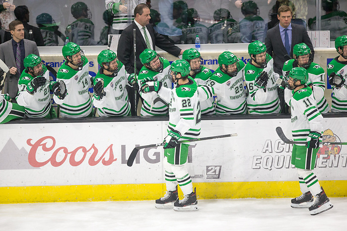 Shane Pinto (North Dakota-22) 2019 November 22 St. Cloud State University and University North Dakota meet in NCHC conference game at the Ralph Engelstad Arena Grand Forks, ND (Bradley K. Olson)