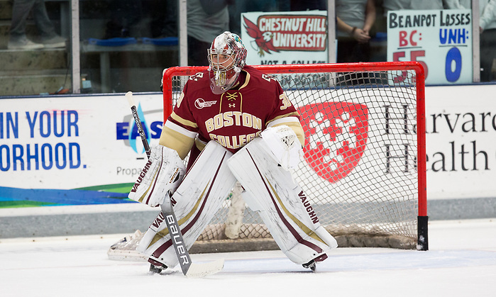 DURHAM, NH - NOVEMBER 1: Spencer Knight #30 of the Boston College Eagles. The Boston College Eagles visit the New Hampshire Wildcats during NCAA men's hockey at the Whittemore Center on November 1, 2019 in Durham, New Hampshire. The Wildcats won 1-0 in overtime. (Photo by Rich Gagnon/USCHO) (Rich Gagnon)