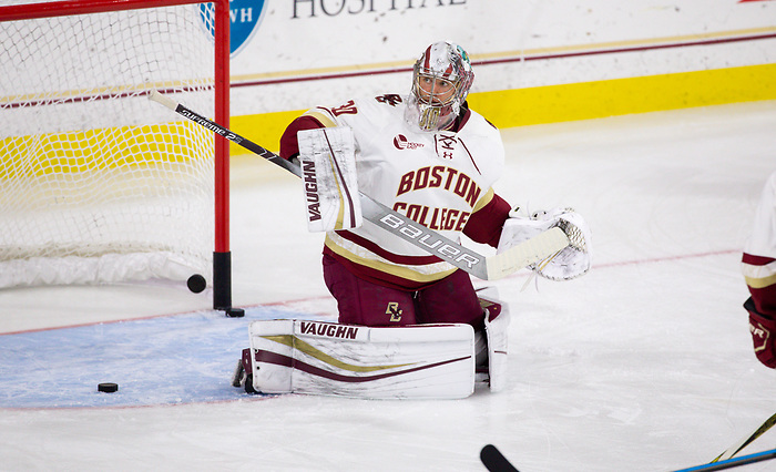 CHESTNUT HILL, MA - NOVEMBER 26: Spencer Knight #30 of the Boston College Eagles tends goal against the Yale Bulldogs during NCAA men's hockey at Kelley Rink on November 26, 2019 in Chestnut Hill, Massachusetts. The Eagles won 6-2. (Photo by Rich Gagnon/USCHO) (Rich Gagnon)