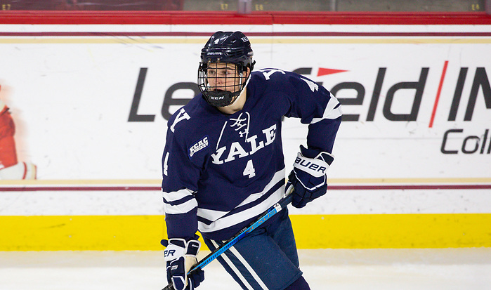 CHESTNUT HILL, MA - NOVEMBER 26: Matt Foley #4 of the Yale Bulldogs skates against the Boston College Eagles during NCAA men's hockey at Kelley Rink on November 26, 2019 in Chestnut Hill, Massachusetts. The Eagles won 6-2. (Photo by Rich Gagnon/USCHO) (Rich Gagnon)