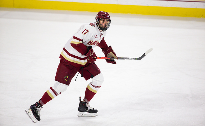 CHESTNUT HILL, MA - NOVEMBER 26: David Cotton #17 of the Boston College Eagles skates against the Yale Bulldogs during NCAA men's hockey at Kelley Rink on November 26, 2019 in Chestnut Hill, Massachusetts. The Eagles won 6-2. (Photo by Rich Gagnon/USCHO) (Rich Gagnon)
