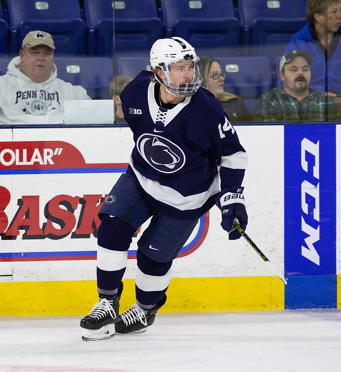 LOWELL, MA - NOVEMBER 30: Nate Sucese #14 of the Penn State Nittany Lions skates against the Massachusetts Lowell River Hawks during NCAA men's hockey at the Tsongas Center on November 30, 2019 in Lowell, Massachusetts. The River Hawks won 3-2 in overtime. (Photo by Rich Gagnon/USCHO) (Rich Gagnon)