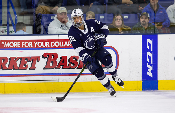 LOWELL, MA - NOVEMBER 30: Liam Folkes #26 of the Penn State Nittany Lions skates against the Massachusetts Lowell River Hawks during NCAA men's hockey at the Tsongas Center on November 30, 2019 in Lowell, Massachusetts. The River Hawks won 3-2 in overtime. (Photo by Rich Gagnon/USCHO) (Rich Gagnon)
