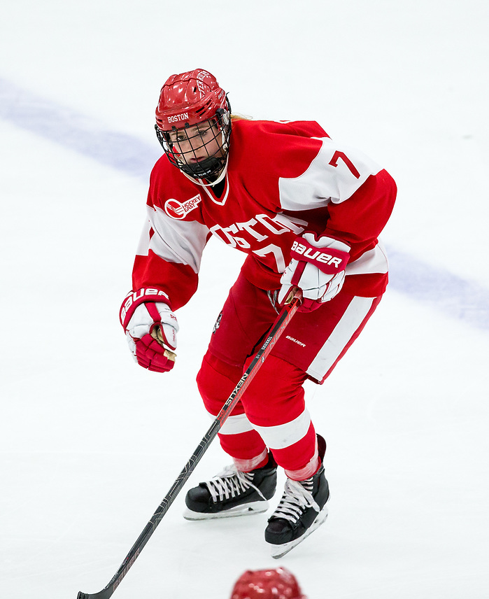 BOSTON, MA - OCTOBER 6: NCAA woman's hockey at Walter Brown Arena between Boston University and Northeastern University on October 6, 2018 in Boston, Massachusetts. (Photo by Rich Gagnon) Jesse Compher of Boston University (Rich Gagnon/Boston University Athletics)