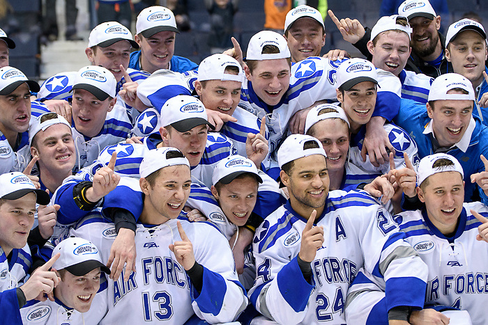 Air Force players celebrate winning the Atlantic Hockey chamionship (2017 Omar Phillips)