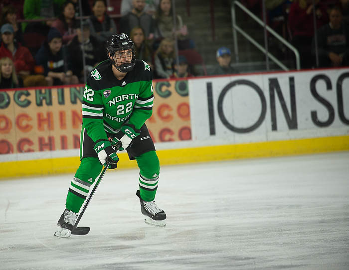 Shane Pinto of North Dakota, North Dakota vs. Denver at Magness Arena, Nov. 15, 2019. (Candace Horgan)