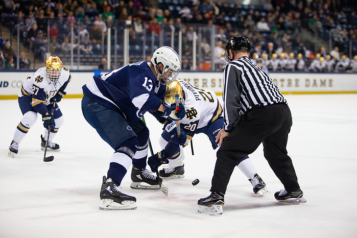 during Big Ten action between University of Notre Dame vs Penn State at Compton Family Ice Arena on December 13, 2019 in South Bend, Indiana. (Mike Miller/Fighting Irish Media)