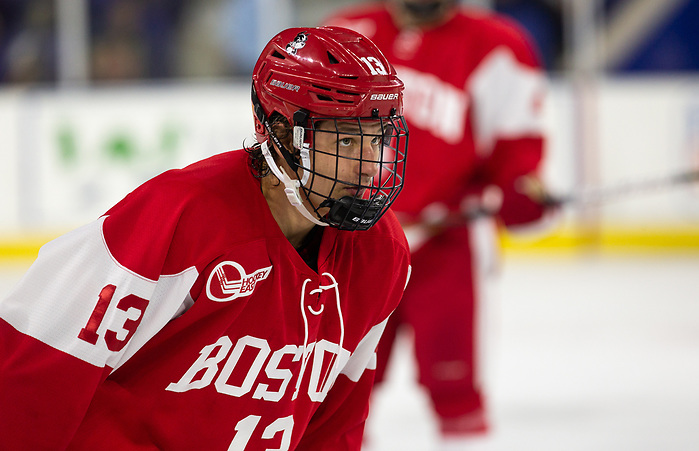 LOWELL, MA - OCTOBER 25: Trevor Zegras #13 of the Boston University Terriers. The UMass-Lowell River Hawks play host to the Boston University Terriers during NCAA men's hockey at the Tsongas Center on October 24, 2019 in Lowell, Massachusetts. (Photo by Rich Gagnon) (Rich Gagnon)