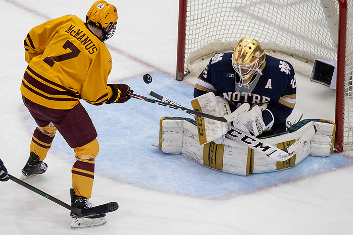 02 Nov 19: Brannon McManus (Minnesota - 7), Cale Morris (Notre Dame - 32). The University of Minnesota Golden Gopher host the University of Notre Dame Fighting Irish in a B1G matchup at 3M Arena at Mariucci in Minneapolis, MN. (Jim Rosvold)