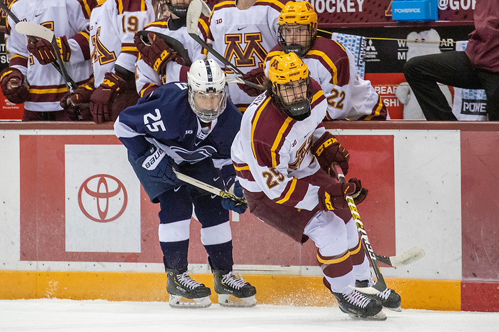 Denis Smirnov (Penn State - 25), Jack Perbix (Minnesota - 25) 15 Nov 19: The University of Minnesota Golden Gopher host the Penn State Nittany Lions in a B1G matchup at 3M Arena at Mariucci in Minneapolis, MN. (Jim Rosvold)