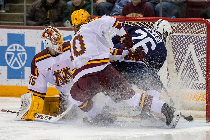 Justen Close (Minnesota - 1), Liam Folkes (Penn State - 26) 15 Nov 19: The University of Minnesota Golden Gopher host the Penn State Nittany Lions in a B1G matchup at 3M Arena at Mariucci in Minneapolis, MN. (Jim Rosvold)