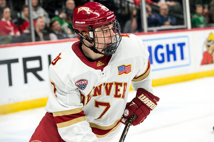 Brett Stapley (Denver-7) 2019 March 23 Denver and Colorado College meet in the 3rd place game of the NCHC  Frozen Face Off at the Xcel Energy Center in St. Paul, MN (Bradley K. Olson)