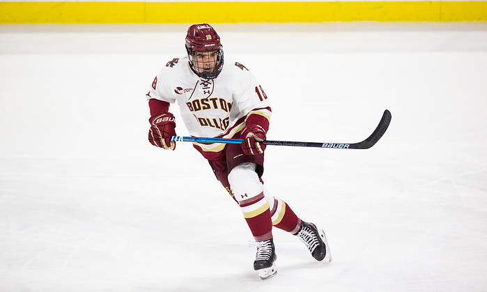 CHESTNUT HILL, MA - NOVEMBER 26: Alex Newhook #18 of the Boston College Eagles skates against the Yale Bulldogs during NCAA men's hockey at Kelley Rink on November 26, 2019 in Chestnut Hill, Massachusetts. The Eagles won 6-2. (Photo by Rich Gagnon/USCHO) (Rich Gagnon)