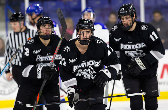 LOWELL, MA - DECEMBER 7: Tyce Thompson #27 of the Providence College Friars. NCAA men's hockey at the Tsongas Center between the UMass-Lowell River Hawks and the Providence College Friars on December 7, 2019 in Lowell, Massachusetts. The Friars won 4-1. (Photo by Rich Gagnon/USCHO) (Rich Gagnon)