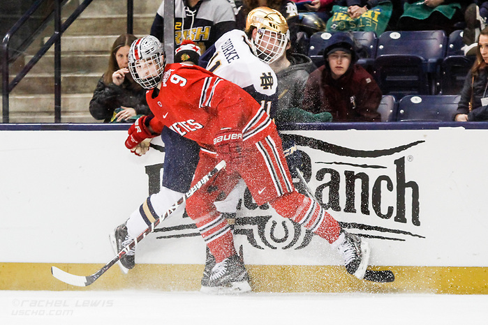 17 MAR 2018: Tanner Laczynski (OSU - 9), Cal Burke (ND - 11). The University of Notre Dame Fighting Irish host the Ohio State University in the 2018 B1G Championship at Compton Family Ice Arena in South Bend, IN.  (Rachel Lewis - USCHO) (Rachel Lewis/©Rachel Lewis)