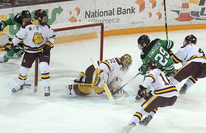 UMD goalie Hunter Shepard makes a save in the first period against North Dakota January 24 at Amsoil Arena in Duluth, MN. (Brett Groehler)
