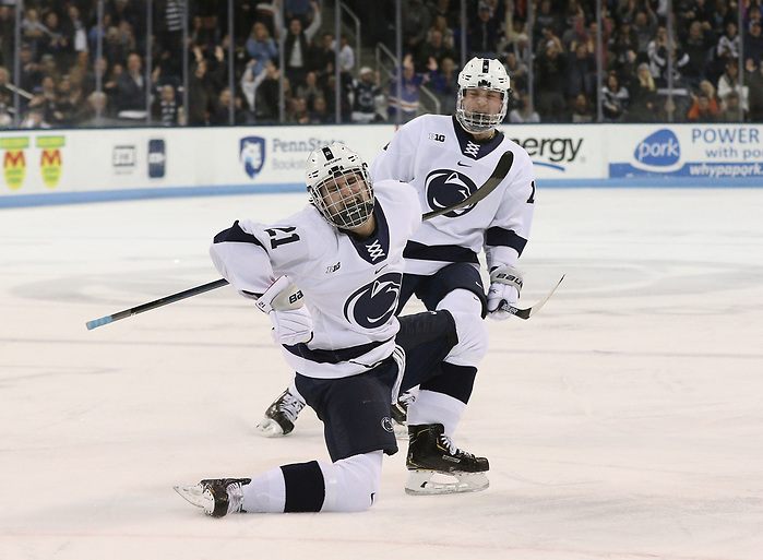 Penn State's Kevin Wall (21) celebrates his game winning goal against Minnesota in the third period on Feb. 22, 2020. Penn State defeated Minnesota 3-2. Photo/Craig Houtz (CRAIG HOUTZ)