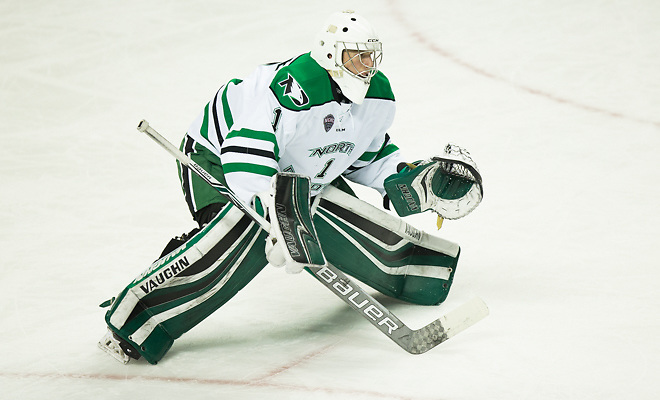 Peter Thome (North Dakota-1) 2017 Nov. 11 The University of North Dakota hosts  Miami of Ohio in a NCHC matchup at the Ralph Engelstad Arena in Grand Forks, ND (Bradley K. Olson)
