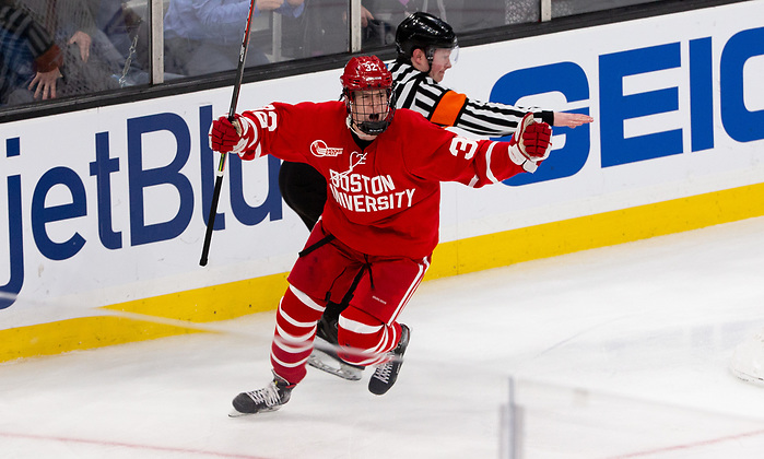 BOSTON, MA - FEBRUARY 3: Wilmer Skoog #32 of the Boston University Terriers scores in overtime against the Boston College Eagles during NCAA hockey in the semifinals of the annual Beanpot Hockey Tournament at TD Garden on February 3, 2020 in Boston, Massachusetts. (Photo by Rich Gagnon/USCHO) (Rich Gagnon)