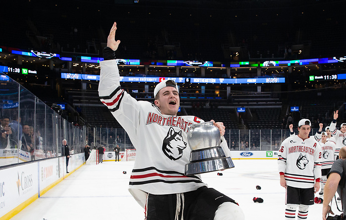 BOSTON, MA - FEBRUARY 10: The Boston University Terriers play the Northeastern Huskies during NCAA hockey in championship game of the annual Beanpot Hockey Tournament at TD Garden on February 10, 2020 in Boston, Massachusetts. (Photo by Rich Gagnon/Boston University Athletics) (Rich Gagnon)