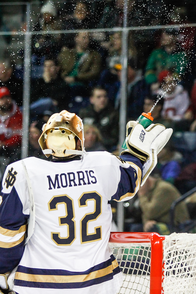 17 MAR 2018: Cale Morris (ND - 32). The University of Notre Dame Fighting Irish host the Ohio State University in the 2018 B1G Championship at Compton Family Ice Arena in South Bend, IN.  (Rachel Lewis - USCHO) (Rachel Lewis/©Rachel Lewis)