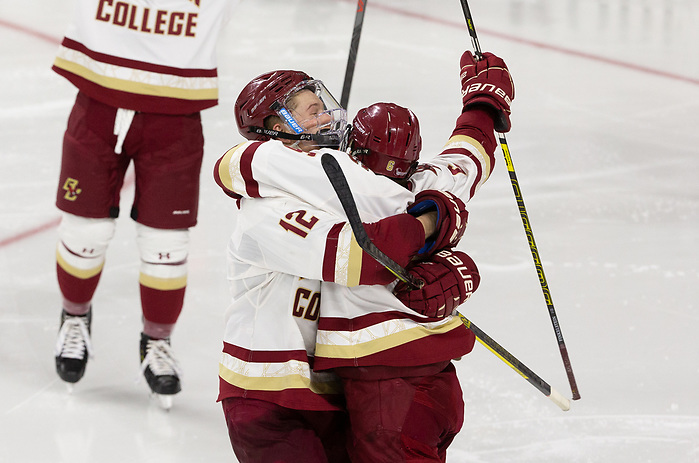 CHESTNUT HILL, MA - FEBRUARY 7: Ben Finkelstein #6 of the Boston College Eagles. NCAA men's hockey between the UMass Lowell River Hawks and the Boston College Eagles at Kelley Rink on February 7, 2020 in Chestnut Hill, Massachusetts. (Photo by Rich Gagnon/UMass Lowell Athletics) (Rich Gagnon)