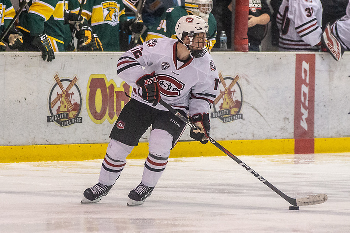 19 Oct 18:  Jack Ahcan (St. Cloud - 12). The St. Cloud State University Huskies host the Northern Michigan University Wildcats in a non-conference matchup at the Herb Brooks National Hockey Center in St. Cloud, MN. (Jim Rosvold)