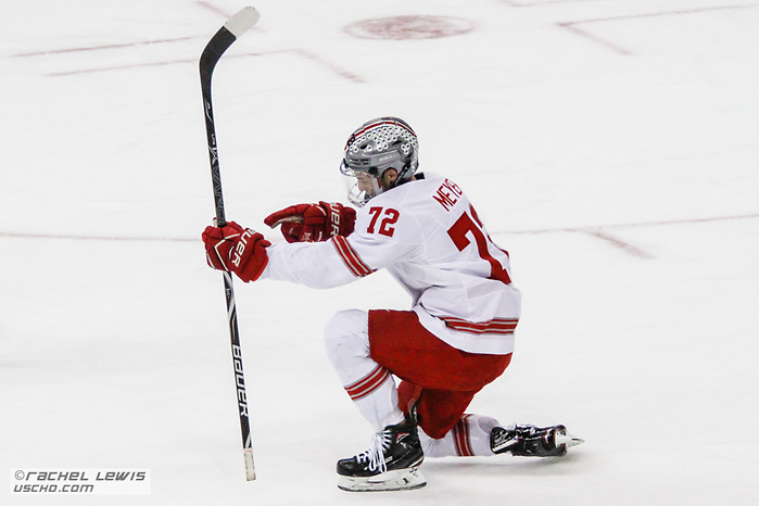 Carson Meyer (OSU - 72) The Ohio State Buckeyes lose 4-3 to the University of Minnesota Golden Gophers Saturday, February 16, 2019 at Value City Arena in Columbus, OH. (Rachel Lewis - USCHO) (Rachel Lewis/©Rachel Lewis)