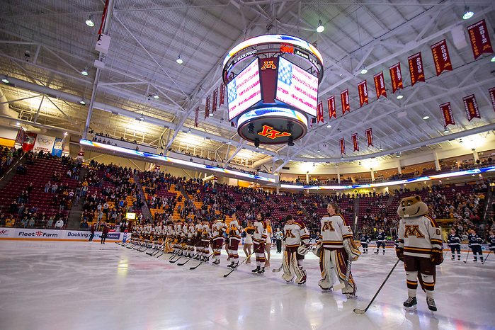 15 Nov 19: The University of Minnesota Golden Gopher host the Penn State Nittany Lions in a B1G matchup at 3M Arena at Mariucci in Minneapolis, MN. (Jim Rosvold)