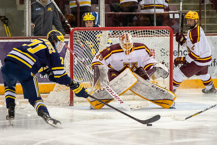 29 Feb 20: The University of Minnesota Golden Gopher host the University of Michigan Wolverines in a B1G matchup at 3M Arena at Mariucci in Minneapolis, MN. (Jim Rosvold)
