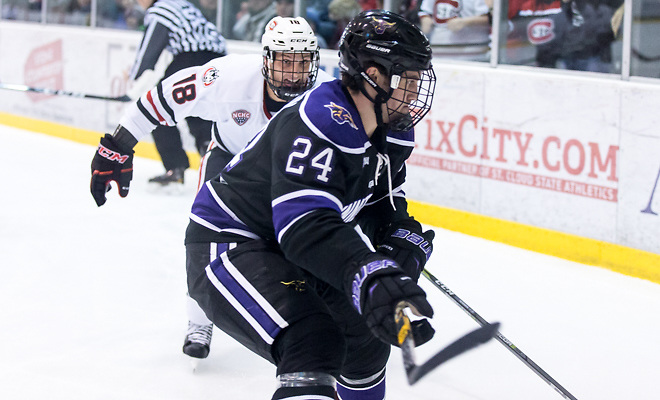 Edwin Hookenson (MSU-24) Judd Peterson (SCSU-18) 2018 Jan. 12 The St.Cloud State University Huskies host Mankato State University n a non conference matchup at the Herb Brooks National Hockey Center in St. Cloud, MN (Bradley K. Olson)