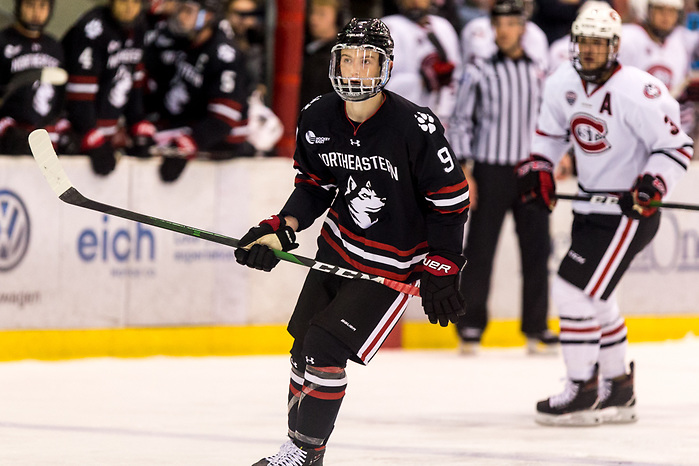 Tyler Madden (NORTHEASTERN-9) 2019 October 26 Northeastern and St. Cloud State University meet in non conference game at the Herb Brooks National Hockey Center in St. Cloud, MN (Bradley K. Olson)