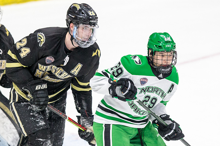 Jordan Kawaguchi (North Dakota-29) Mattias Samuelsson (Western Michigan-24) Ben Blacker (Western Michigan-33) 2020 February 29 Western Michigan and the University of North Dakota meet in a NCHC contest in Grand Forks, ND (Bradley K. Olson)