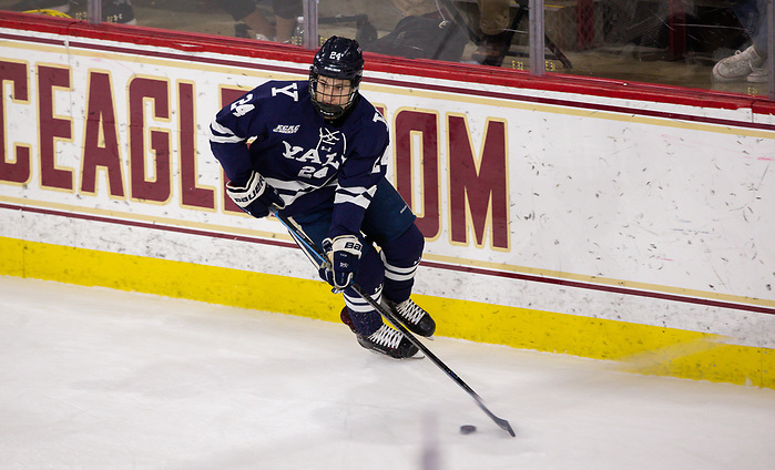 CHESTNUT HILL, MA - NOVEMBER 26: Graham Lillibridge #24 of the Yale Bulldogs skates against the Boston College Eagles during NCAA men's hockey at Kelley Rink on November 26, 2019 in Chestnut Hill, Massachusetts. The Eagles won 6-2. (Photo by Rich Gagnon/USCHO) (Rich Gagnon)