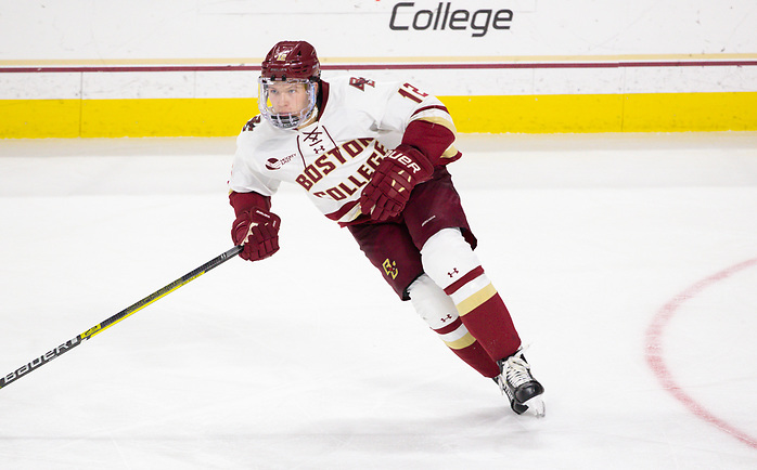 CHESTNUT HILL, MA - NOVEMBER 26: Matt Boldy #12 of the Boston College Eagles skates against the Yale Bulldogs during NCAA men's hockey at Kelley Rink on November 26, 2019 in Chestnut Hill, Massachusetts. The Eagles won 6-2. (Photo by Rich Gagnon/USCHO) (Rich Gagnon)