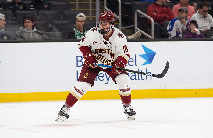 BOSTON, MA - FEBRUARY 10: Alex Newhook #18 of the Boston College Eagles. NCAA hockey in consolation game of the annual Beanpot Hockey Tournament at TD Garden on February 10, 2020 in Boston, Massachusetts. (Photo by Rich Gagnon/USCHO) (Rich Gagnon)