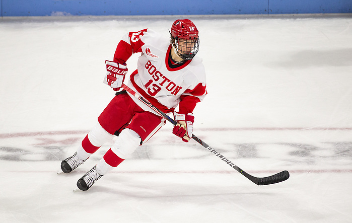 BOSTON, MA - JANUARY 24: Trevor Zegras #13 of the Boston University Terriers. Boston University plays UMass Lowell during NCAA men's hockey at the Agganis Arena on January 24, 2020 in Boston, Massachusetts. The Terriers won 5-0. (Photo by Rich Gagnon/USCHO) (Rich Gagnon)