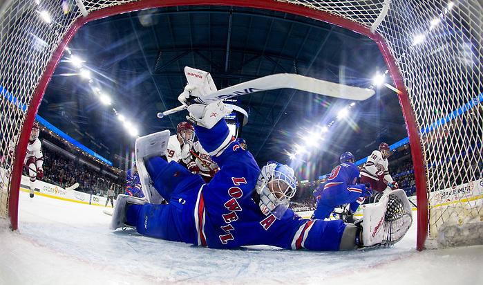 LOWELL, MA - FEBRUARY 21: The UMass Lowell River Hawks play host to the UMass Minutemen during NCAA men's hockey at the Tsongas Center on February 21, 2020 in Lowell, Massachusetts. (Photo by Rich Gagnon/UMass Lowell Athletics) (Rich Gagnon)